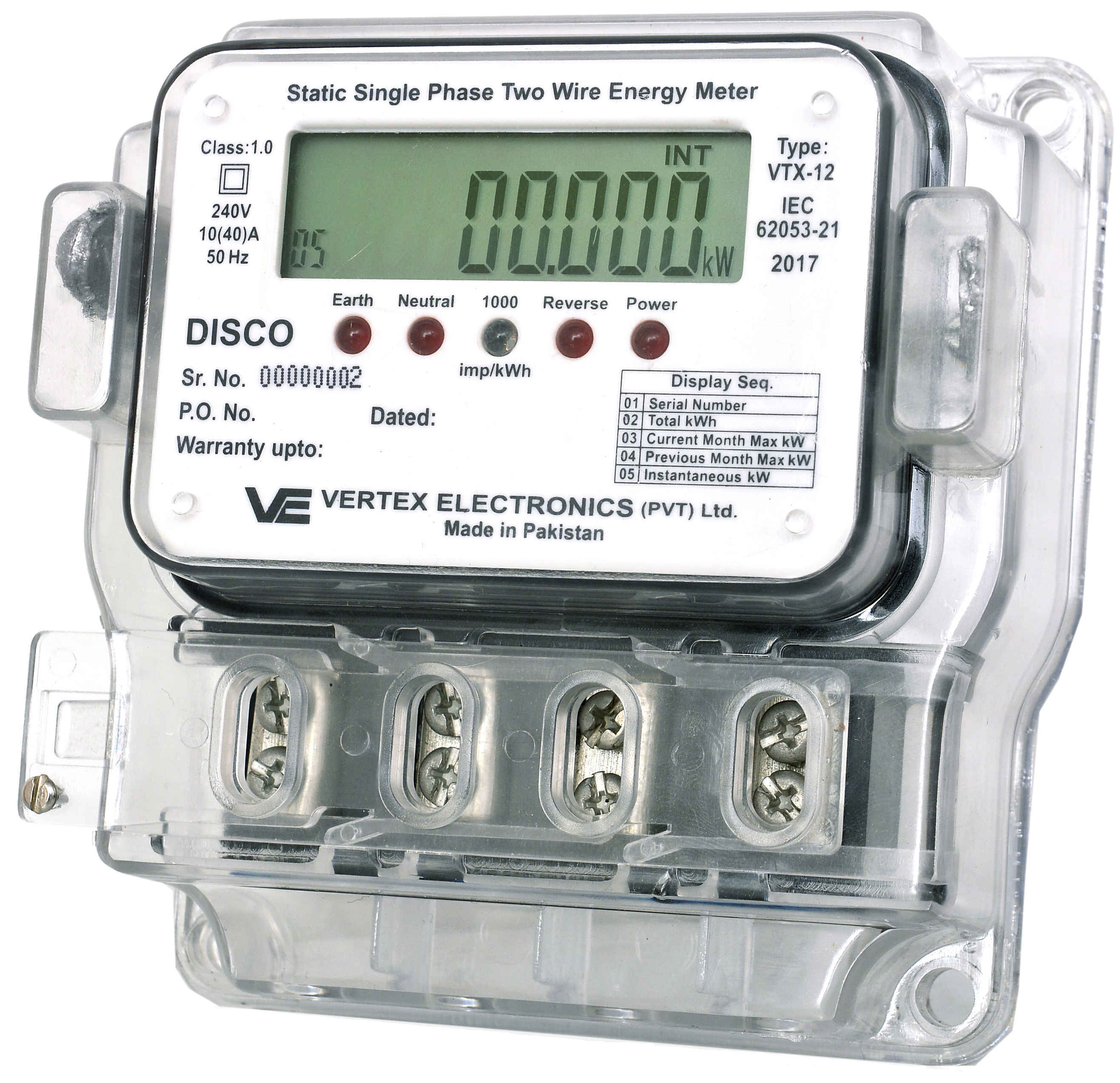 Power Meters In Line : Single phase meter vertex electronics