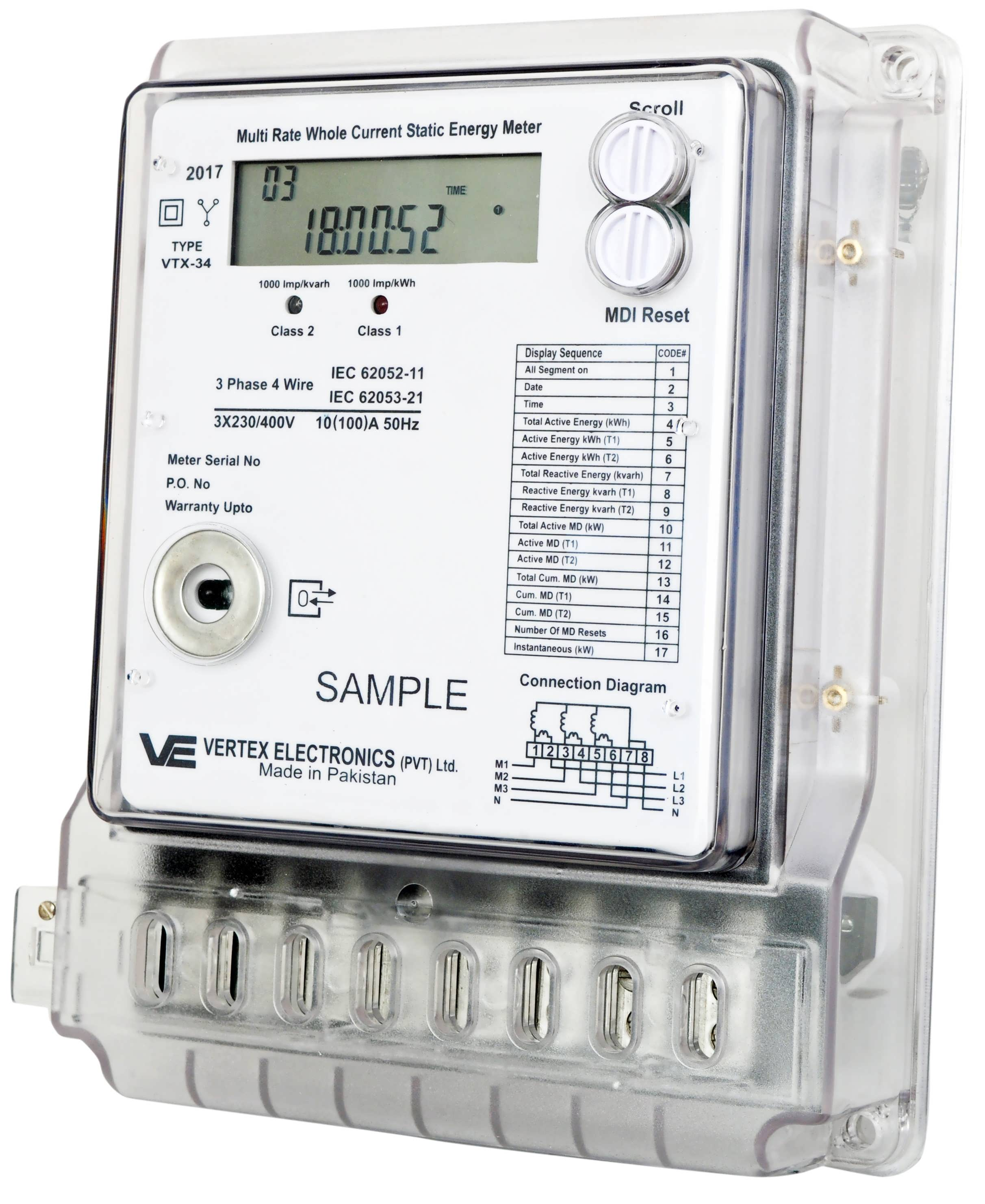 3 Phase Meter Utilyti : Vertex electronics energy meters